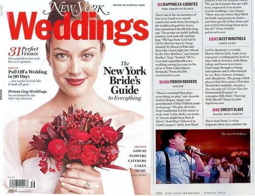 The Amish Outlaws featured in New York Magazine's 2012 Winter Wedding issue